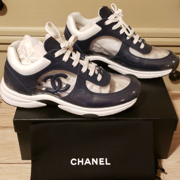 Sold Chanel Runway Navy Trainers 395